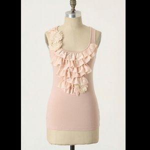Anthro Deletta Fallings Fleur Ruffle Pink Top Med